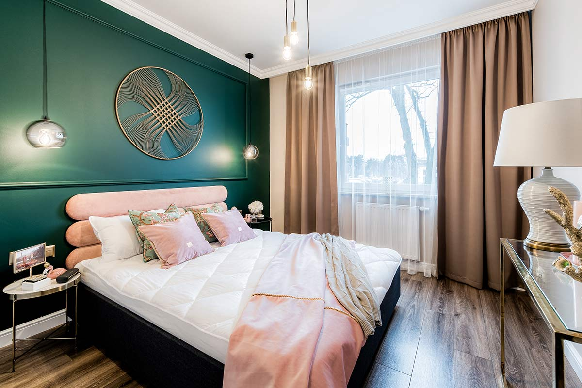 new bedroom property refurbishment project in London with a green and pink theme